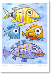 F. Frank New Fish Art - Colorful, fun, graphic fish paintings.Bunte Fische Kunst Gemälde von Künstler F. Frank.