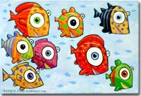 F. Frank New Fish Art - Colorful, fun, humorous, graphic fish art, sculptures and paintings.
